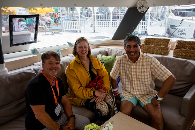 FP Helia 44.  Chatting with Derek Hunsinger who owns a charter company in St. Marten, iyacht.