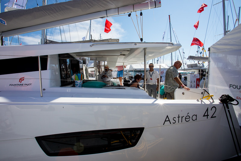 The Astrea 42 is the new boat in the FP line.  This is the one we were very interested in and we really liked it.  Very spacious and more like a bigger 45 footer.  The only real down side was the bathroom which has a shared shower between the two cabins in the pontoon.  Other than that very cool.