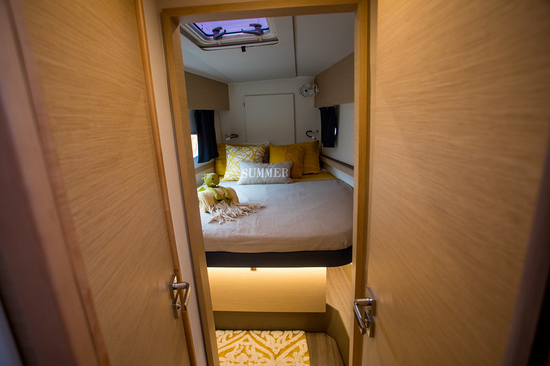 FP Helia 44.  The forward cabin.  Most of the storage is below the bunk with some in the hallway.
