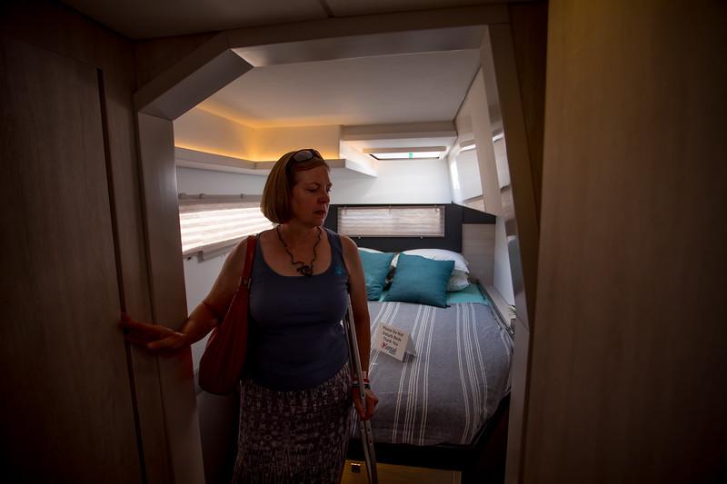 Leopard 40 stern cabin.  A little snug.