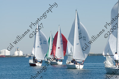 """Pan Am Qualifiers for J24's Feb. '07- """"Starts"""" & Group Shots of Sailboats"""