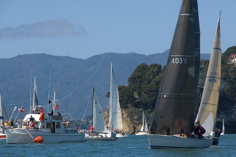 Bullet (Express 37) finally crosses the starting line with the PHRF 4 fleet.