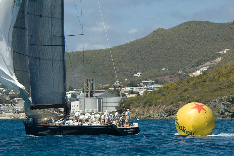 Moneypenny tows the windward mark...
