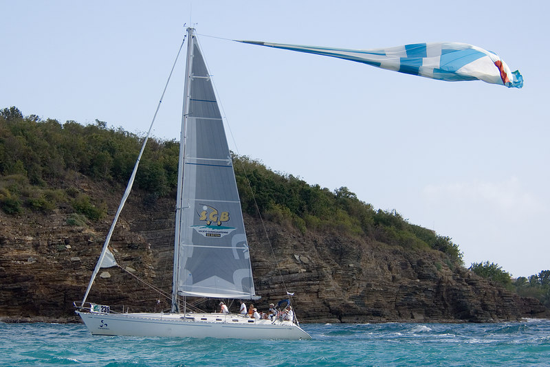 More spinnaker carnage or is it a new battle flag?  Lynx Optique, a Dufour 45