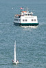 The Angel Island ferry waited patiently for the fleet to clear the entrance to the Tiburon harbor.