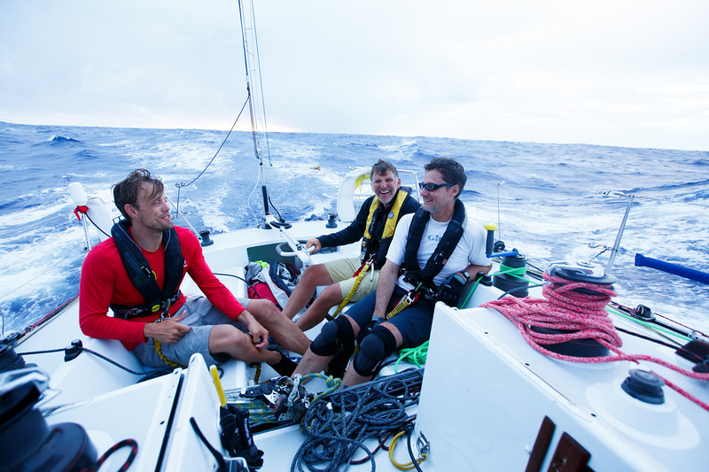 The morning of day 11, our last day at sea.  We had sailed through squalls all night, gybing back and forth to keep to boat pointed towards kaneohe.