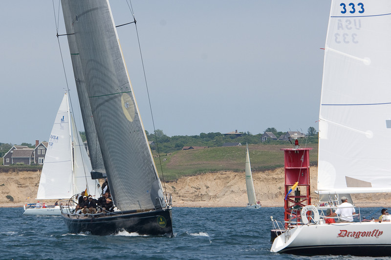 Moneypenny sails through the J105 fleet during the Around the Island Race