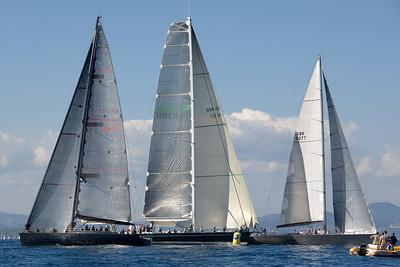Wally's Tango (MON 7777), Narida (NOR 105) and J One (GBR 7077) at the windward mark.