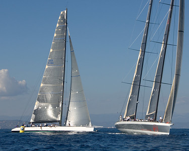 Morning Glory (GER 5386) and Mari Cha IV round the windward mark.  Morning Glory was 1st overall in the IRC A class.