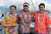 "The winners of the ugly Hawaiian shirt contest -- the middle contestant's shirt was ruled to be ""NOT a Hawaiian shirt"" and was disqualified (and blurred due to questionable content)."