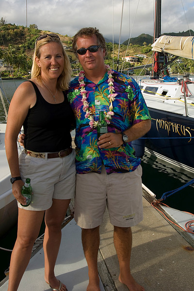 Jim didn't win the ugly Hawaiian shirt contest with this fine entry -- but Debbie doesn't seem to mind.