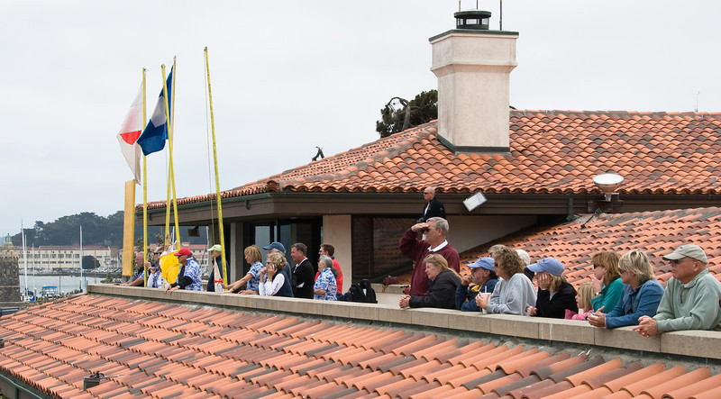Race committee and spectators on the race deck at St. Francis Yacht Club.