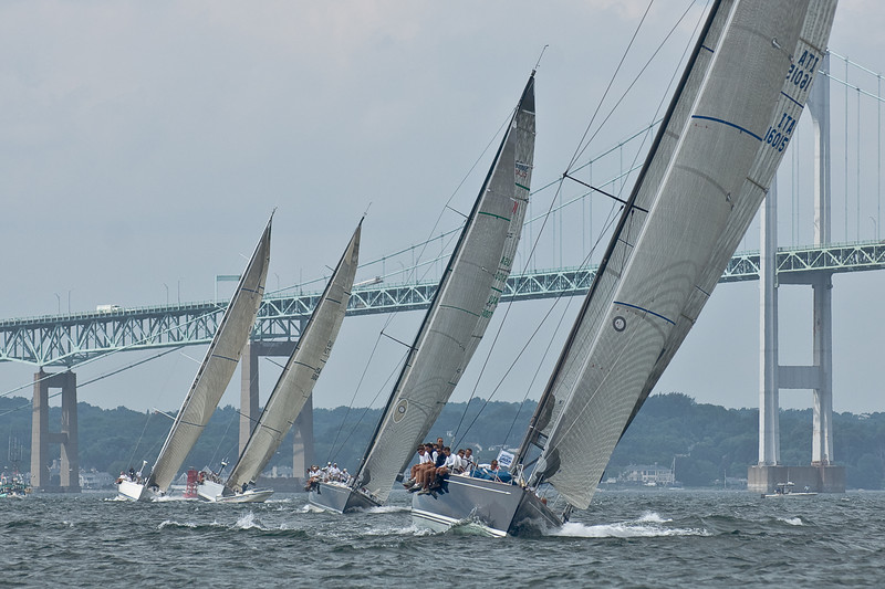 Class A boats head to the finish of the Around the Island Race.