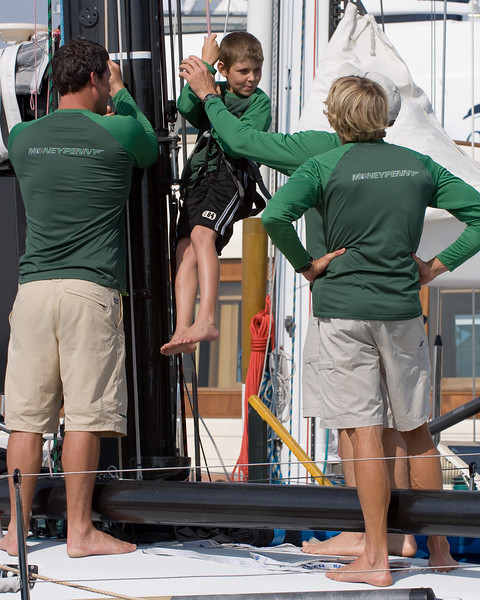 The next generation of foredeck crew in training.