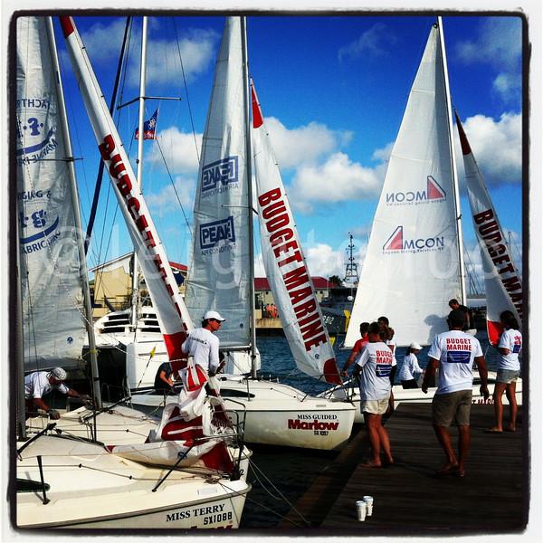 Another day in paradise! Budget Marine Match Racing teams prep.  @sxmheineken @stmaarten_tweet #sxm @sxmlocal #sailing #regattas #racing