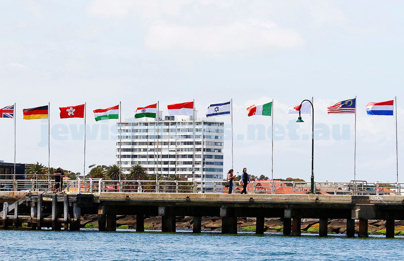 6-12-16. Sailing World Cup Final, Melbourne 2016. Israeli flag flying on St Kilda Pier. Photo: Peter Haskin
