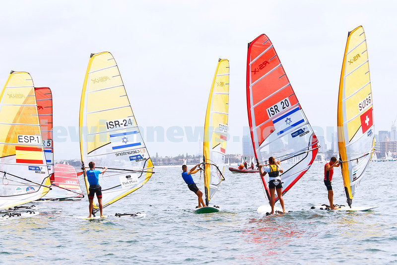 6-12-16. Sailing World Cup Final, Melbourne 2016. Women RS-X (wind surfing). Israel'sYoav Omer (24),   Noy Drihan (20). Photo: Peter Haskin