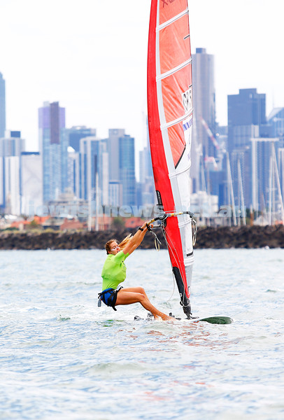 10-12-16. Sailing World Cup Final, Melbourne 2016. Women RS-X (wind surfing). Israeli Noga Geller (5). Photo: Peter Haskin