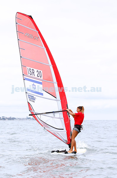 10-12-16. Sailing World Cup Final, Melbourne 2016.  RS-X (wind surfing). Israel's Noy Drihan (20). Photo: Peter Haskin