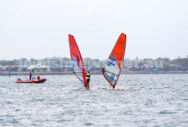 6-12-16. Sailing World Cup Final, Melbourne 2016. Women RS-X (wind surfing). Israeli Noga Geller (left), Noy Drihan. Photo: Peter Haskin
