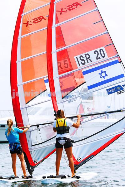 6-12-16. Sailing World Cup Final, Melbourne 2016. Women RS-X (wind surfing). Israeli Noga Geller (5), Noy Drihan (20). Photo: Peter Haskin