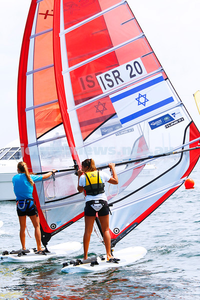 6-12-16. Sailing World Cup Final, Melbourne 2016. Women RS-X (wind surfing). Israeli Noga Geller (5), Noy Drihan (20). Photo: Peter Haskin