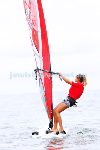 10-12-16. Sailing World Cup Final, Melbourne 2016. Women RS-X (wind surfing). Israeli Noy Drihan (20). Photo: Peter Haskin
