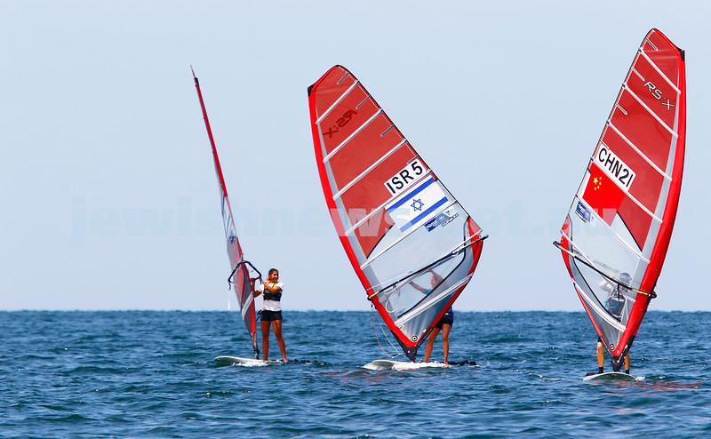 6-12-16. Sailing World Cup Final, Melbourne 2016. Women RS-X (wind surfing). Israeli's Noy Drihan (left), Noga Geller. Photo: Peter Haskin