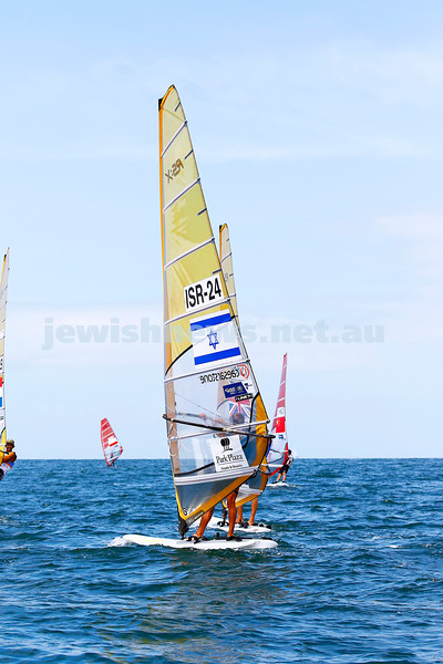 6-12-16. Sailing World Cup Final, Melbourne 2016. Women RS-X (wind surfing). Israel'sYoav Omer (24). Photo: Peter Haskin