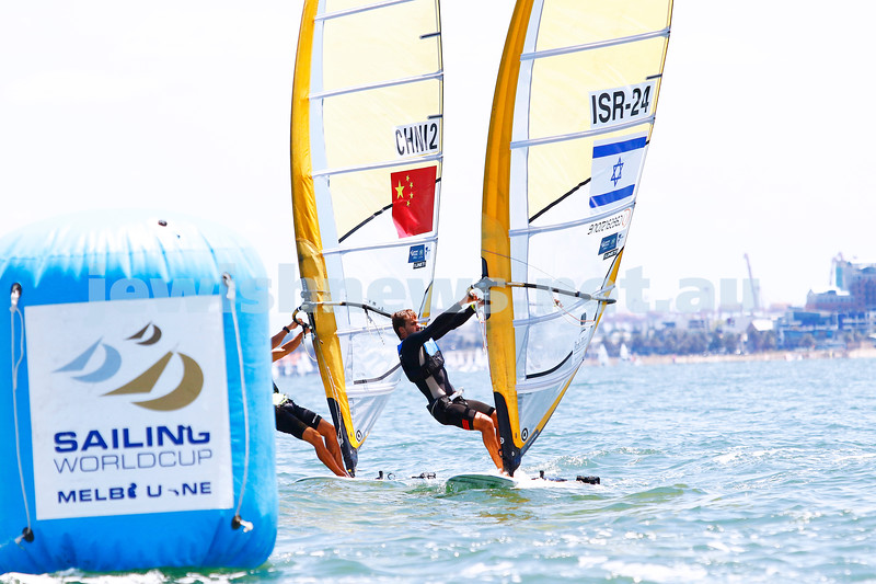 10-12-16. Sailing World Cup Final, Melbourne 2016.  Men RS-X (wind surfing). Israel's Yoav Omer (24). Photo: Peter Haskin