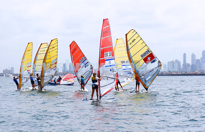 6-12-16. Sailing World Cup Final, Melbourne 2016. Women RS-X (wind surfing). Israeli Noga Geller (5), Noy Drihan (20), Yoav Omer (24) Photo: Peter Haskin