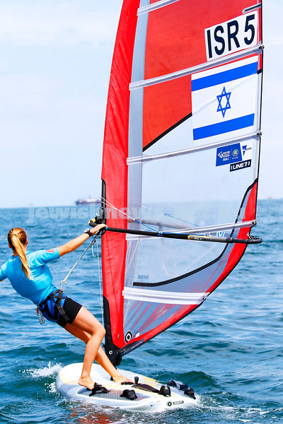 6-12-16. Sailing World Cup Final, Melbourne 2016. Women RS-X (wind surfing). Israeli Noga Geller. Photo: Peter Haskin