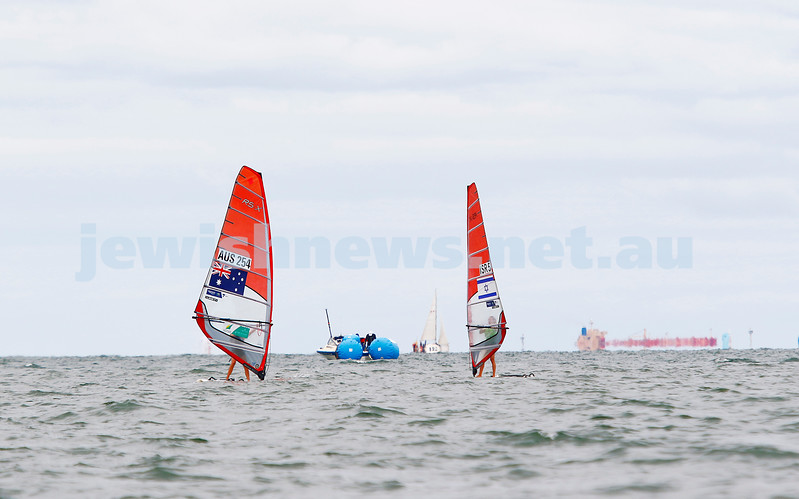 10-12-16. Sailing World Cup Final, Melbourne 2016. Women RS-X (wind surfing). Israel's Noga Geller (5). Photo: Peter Haskin