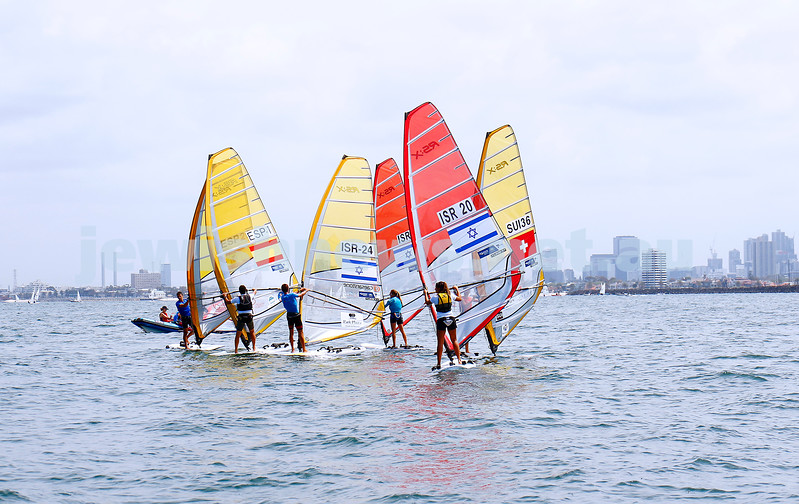 6-12-16. Sailing World Cup Final, Melbourne 2016. Women RS-X (wind surfing). Israel'sYoav Omer (24),  Noga Geller (5), Noy Drihan (20). Photo: Peter Haskin