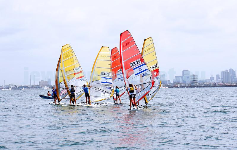 6-12-16. Sailing World Cup Final, Melbourne 2016. Women RS-X (wind surfing). Israel'sYoav Omer (24),  Noga Geller (5), Noy Drihan (20). Photo: Peter Haskin