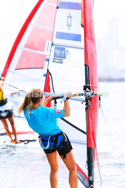 6-12-16. Sailing World Cup Final, Melbourne 2016. Women RS-X (wind surfing). Israeli Noga Geller. Photo: Peter Haskin