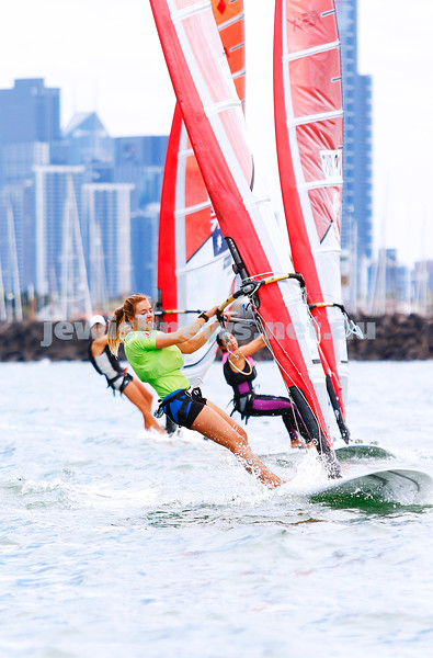 10-12-16. Sailing World Cup Final, Melbourne 2016. Women RS-X (wind surfing). Israeli Noga Geller (5). Photo: Peter Haskin