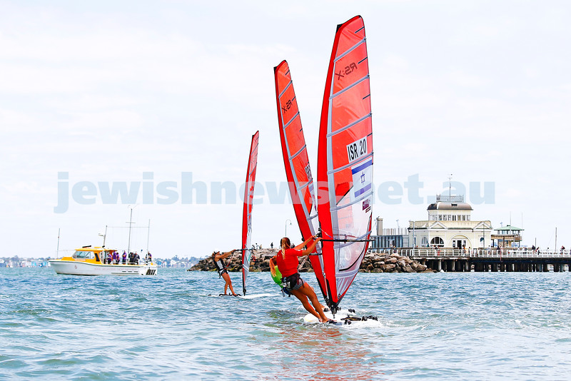10-12-16. Sailing World Cup Final, Melbourne 2016. Women RS-X (wind surfing). Israel's Noga Geller (5), Noy Drihan (20). Photo: Peter Haskin