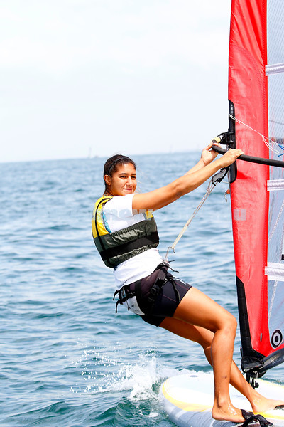 6-12-16. Sailing World Cup Final, Melbourne 2016. Women RS-X (wind surfing). Israeli Noy Drihan. Photo: Peter Haskin