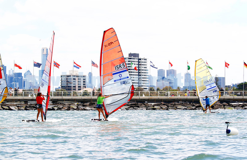 10-12-16. Sailing World Cup Final, Melbourne 2016.  RS-X (wind surfing). Israel's Noy Drihan (20), Noga Geller (5), Yoav Omer (24). Photo: Peter Haskin