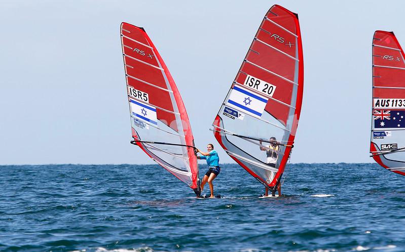 6-12-16. Sailing World Cup Final, Melbourne 2016. Women RS-X (wind surfing). Israeli Noga Geller (left), Noy Drihan. Photo: Peter Haskin