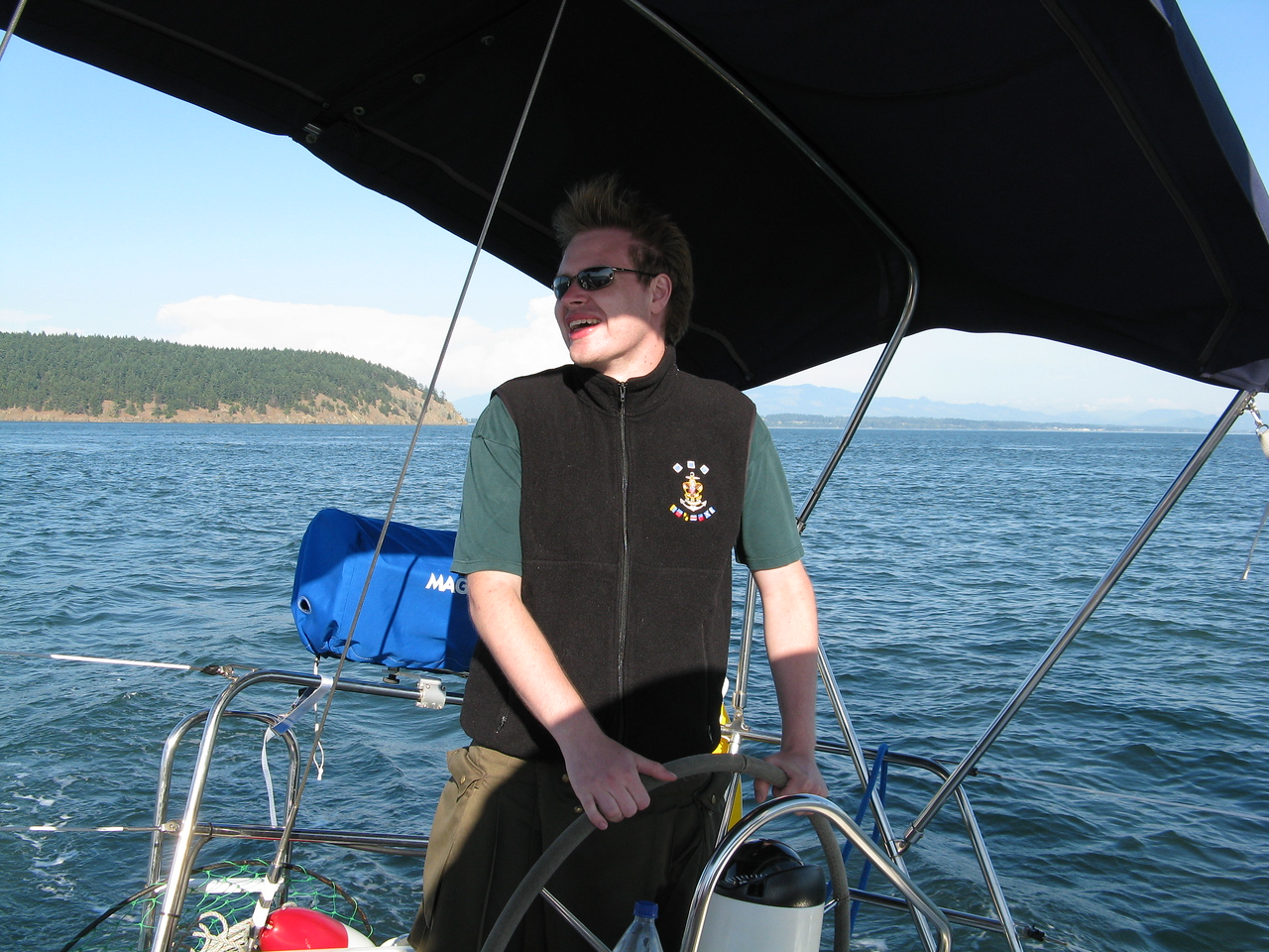 Nathan at the port side helm.