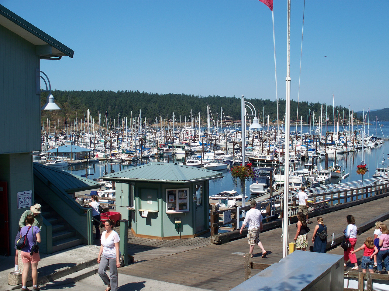We arrived at Friday Harbor Marina in the early afternoon.   This view shows the marina from the top of the dock.  (photo by Sonia)
