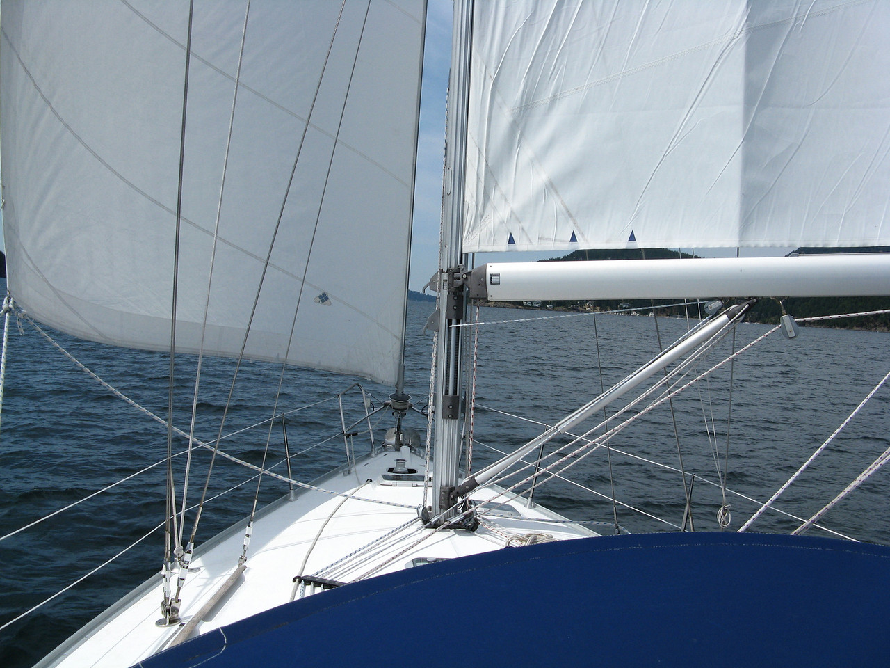 On Friday afternoon we sailed from Sucia Island to Rosario on Orcas Island.  We were running with the sails set to wing-and-wing wtih a southerly wind as we headed up East Sound,