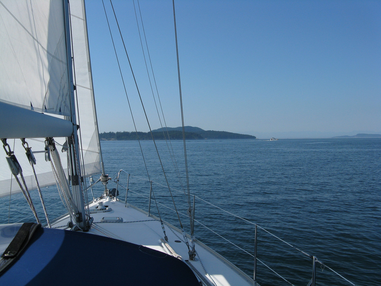 On Monday morning, we are sailing  west across Rosario Strait enroute from Anacortes to Friday Harbor on San Juan Island..