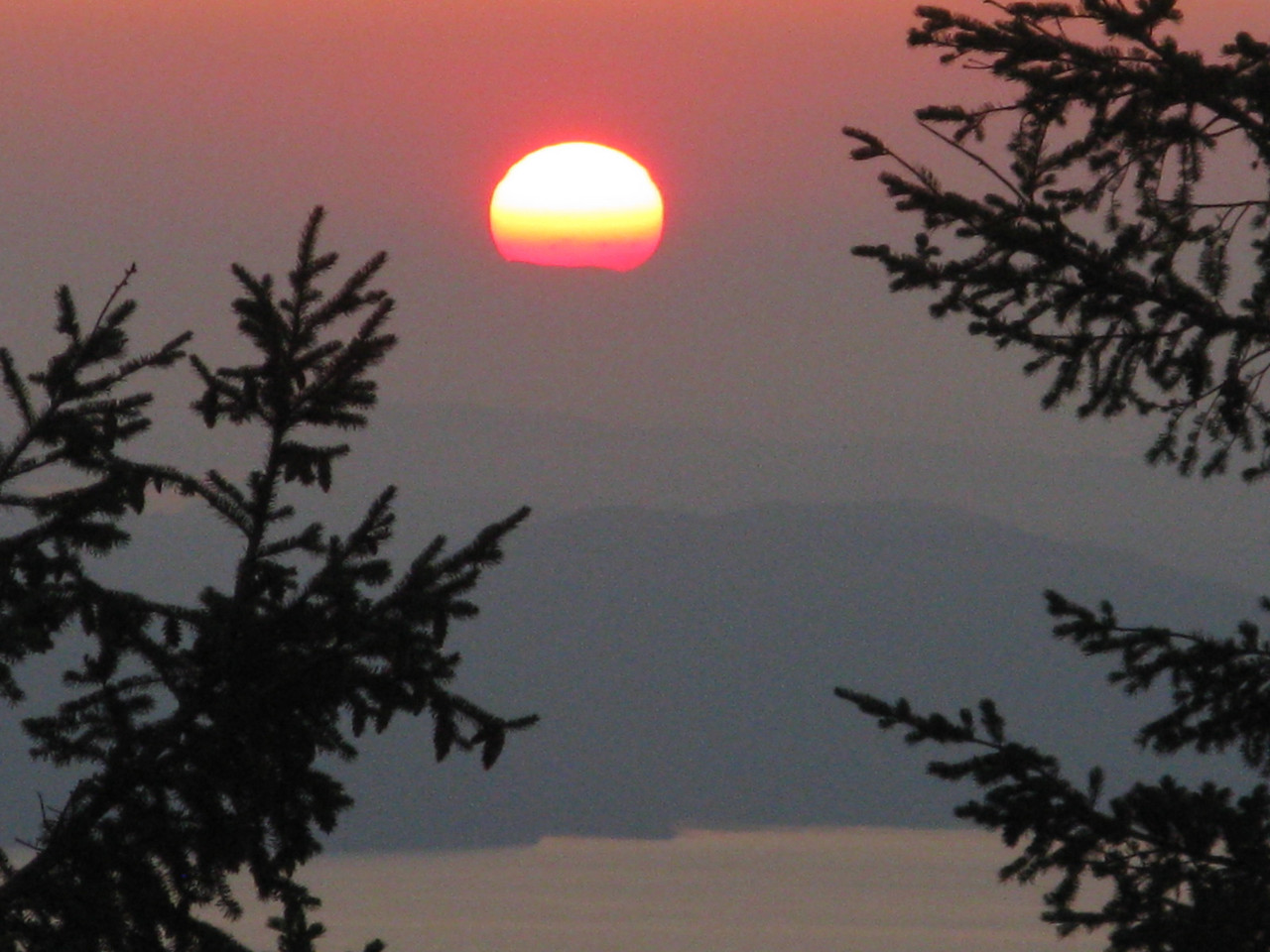 Sunset was spectacular from the watchtower on Mount Constitution on Orcas Island, looking west-northwest over the Pender Islands in Canada.