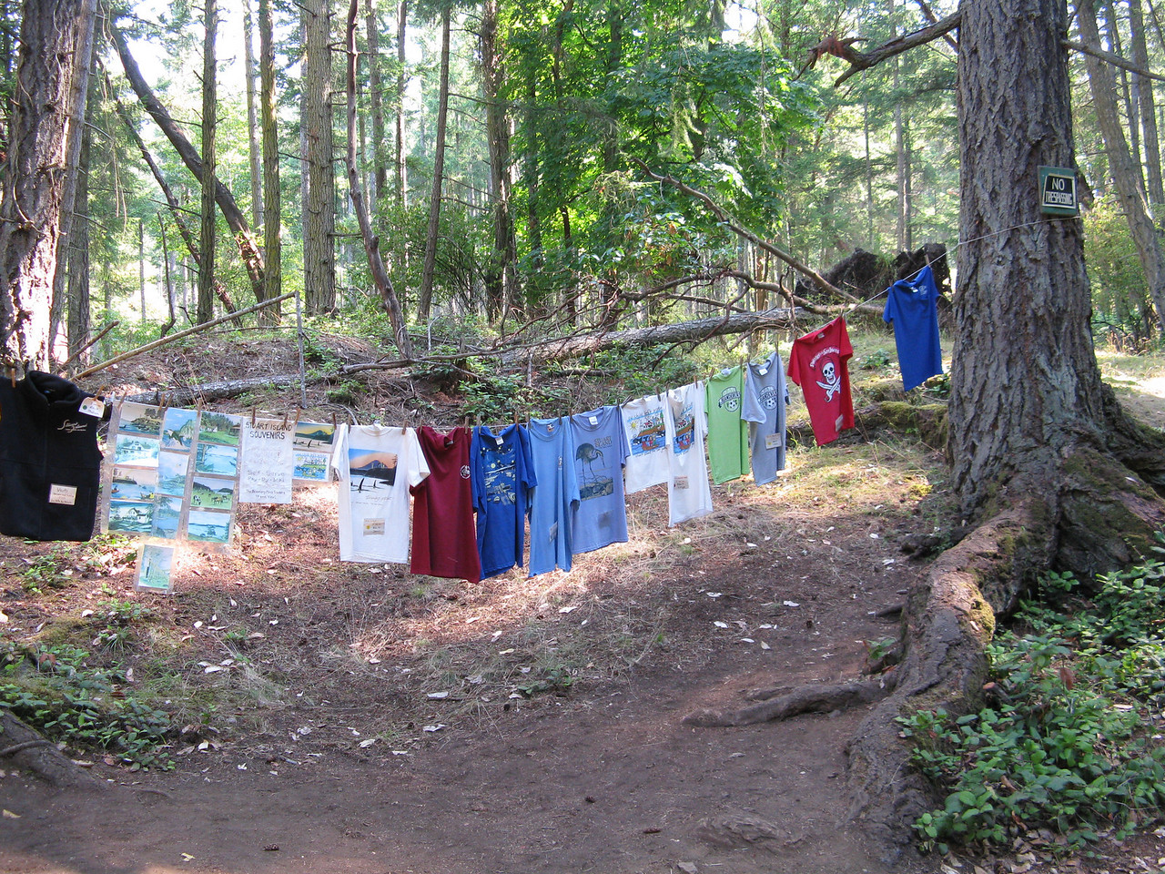 We bought T-shirts on the honor system near the school on Stuart Island.  You pick up the T-shirt and mail the check after you leave the island.