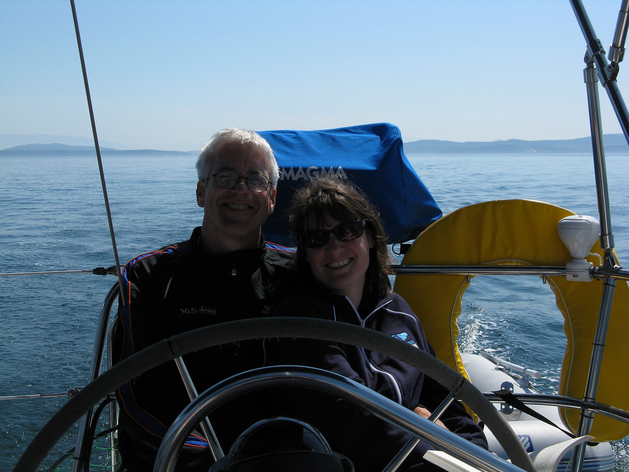 Glenn and Sonia are enjoying the sail.