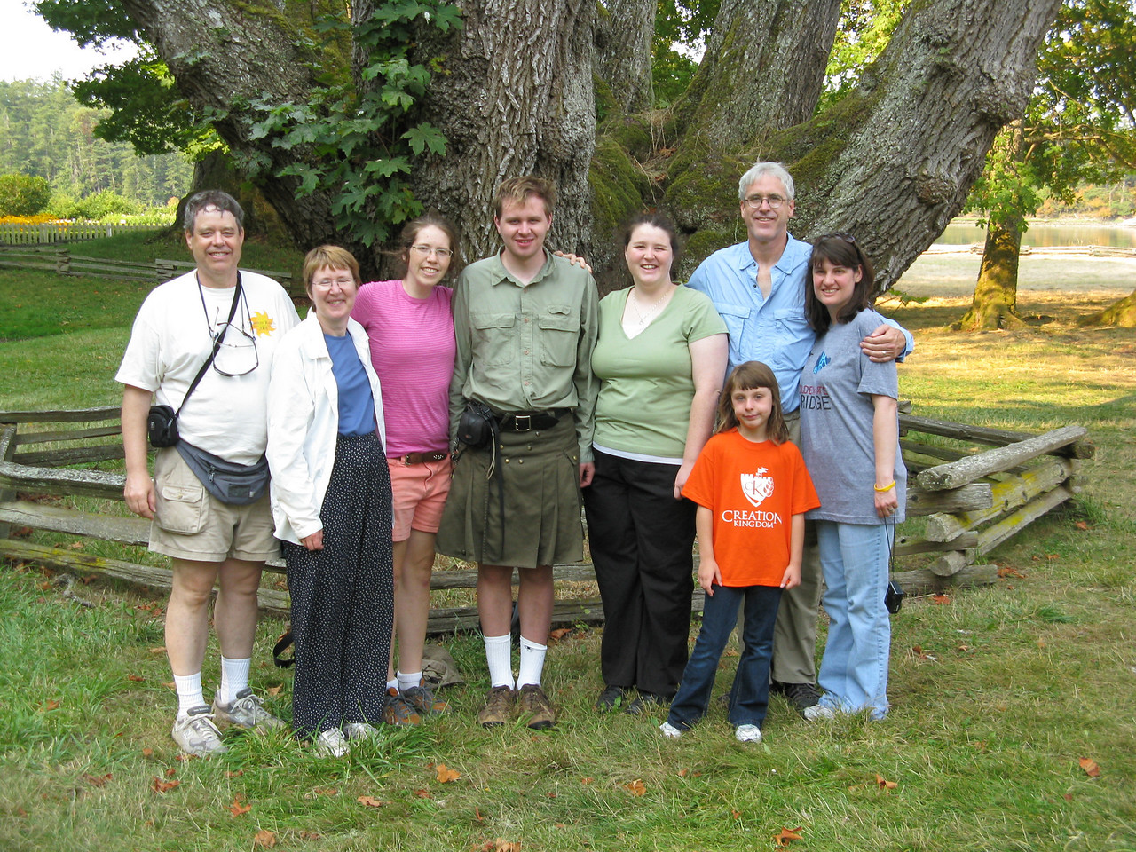 On Tuesday, we toured English Camp on the north west side of San Juan Island.  Our group is standing in front of a majestic maple tree. (L to R)  Martin, Mary, Ann, Nathan, Keegan, Glenn, Abby (in front) and Sonia.