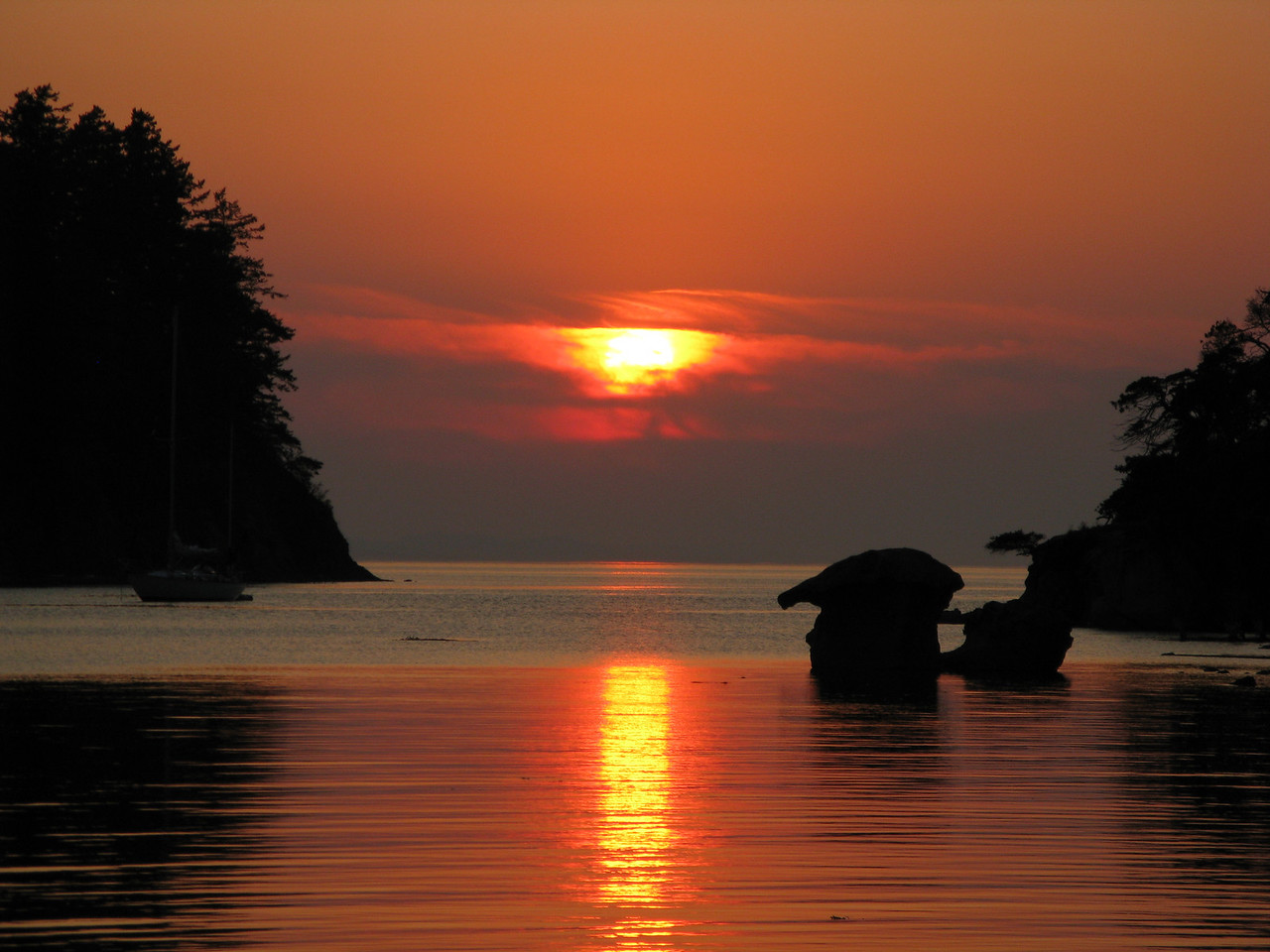 We watched the sunset over Fox Cove on the western side of Sucia Island.